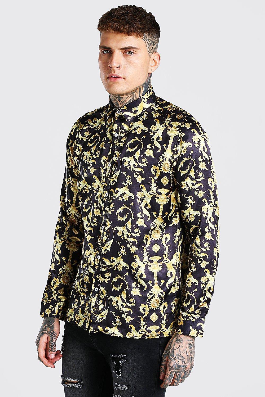 mens long sleeve satin baroque shirt - black