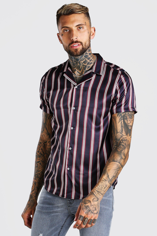 mens short sleeve satin stripe shirt - navy