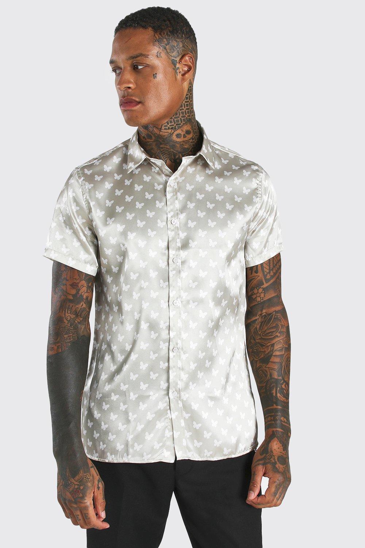 mens short sleeve satin butterfly shirt - beige