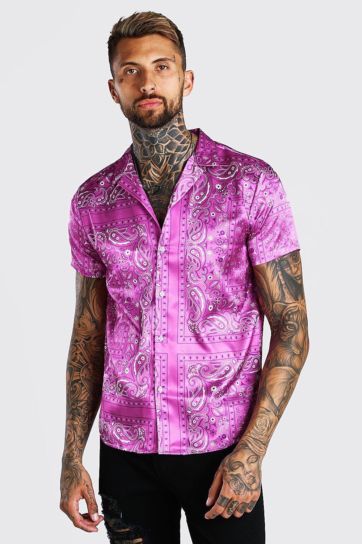 mens long sleeve bandana satin shirt - pink