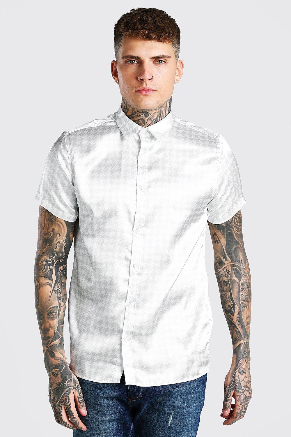 mens short sleeve dogtooth satin shirt - beige