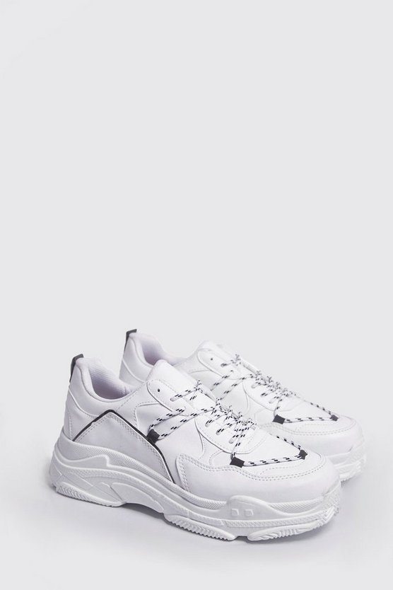 Mens White Chunky Trainers With Reflective Details