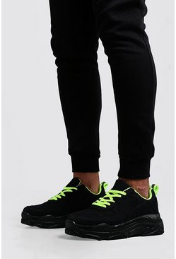 Mens Black Neon Lined Chunky Trainer