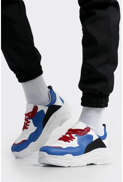 Mens Multi Colour Block Chunky Trainers