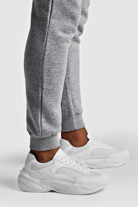 White Extended Sole Chunky Trainer