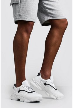Mens White Wave Sole Chunky Sneaker
