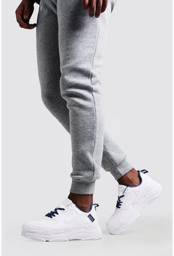 Herr White Chunky Trainer With Cobalt Detail