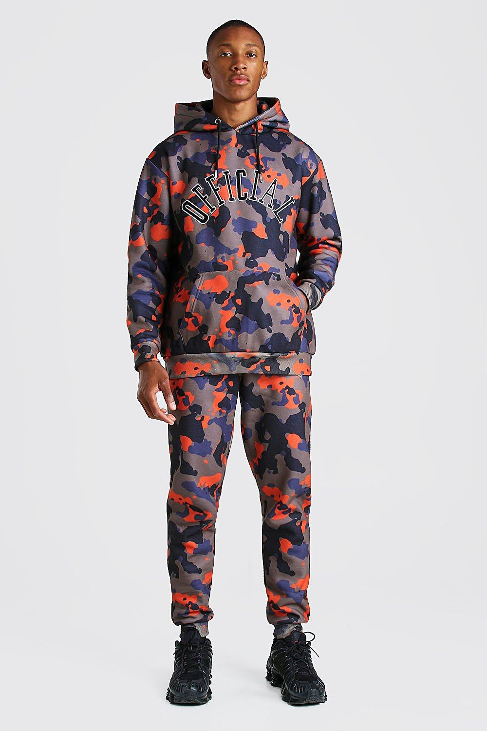 mens loose fit official embroidered camo tracksuit - orange