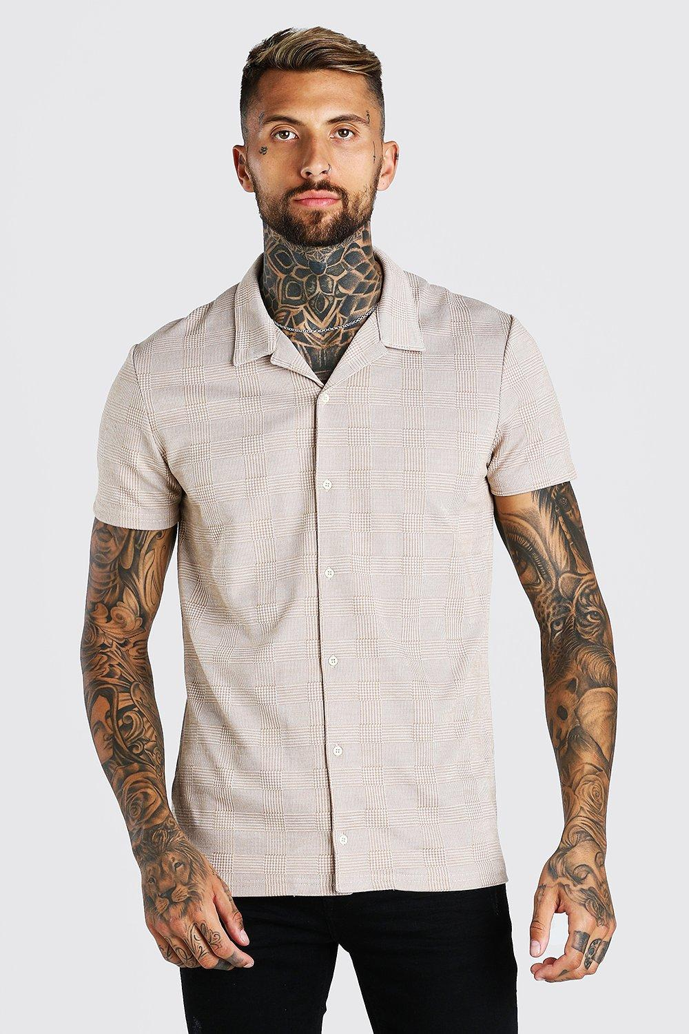 Mens Vintage Shirts – Casual, Dress, T-shirts, Polos Mens Short Sleeve Revere Collar Textured Jacquard Shirt - Brown $10.00 AT vintagedancer.com