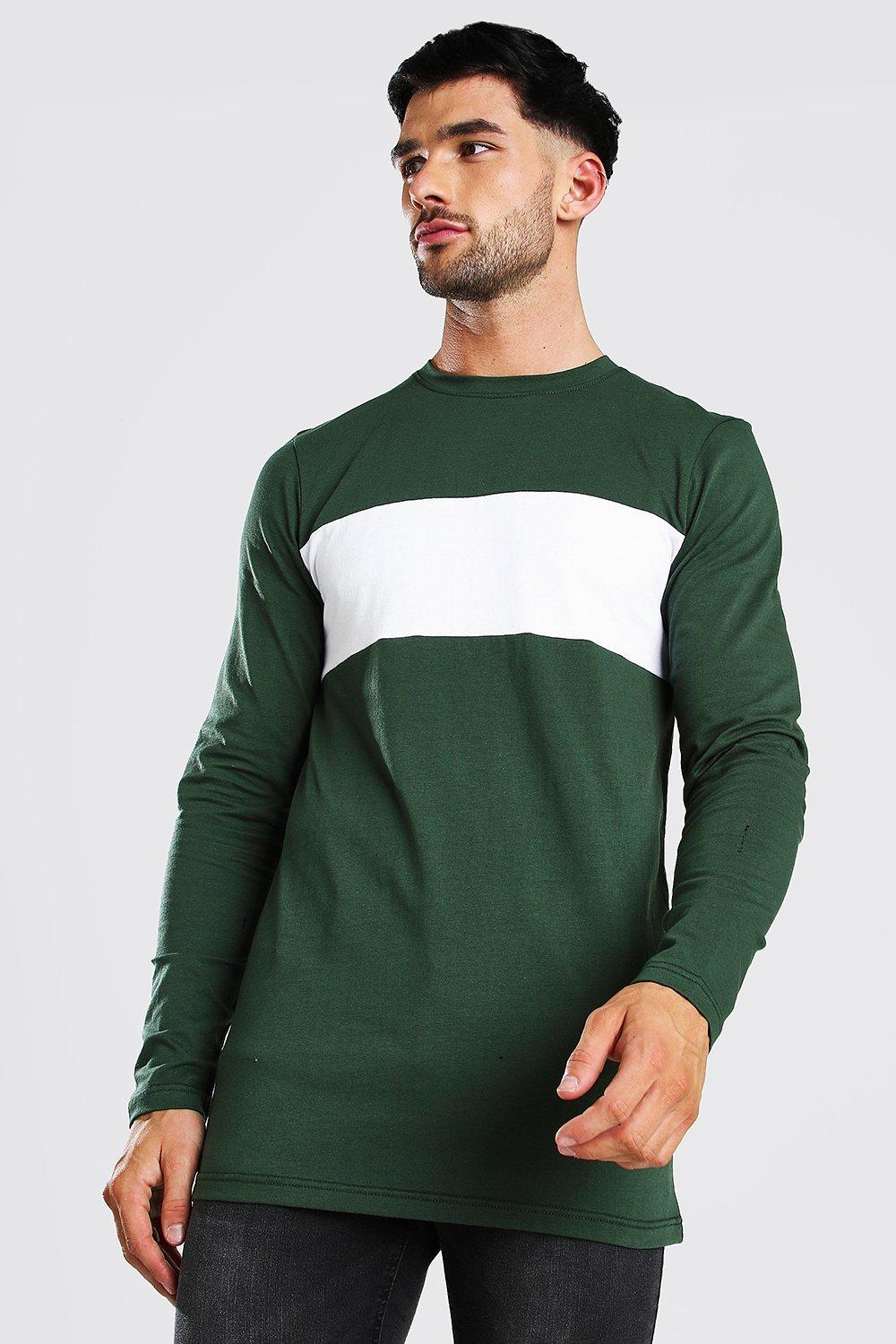 mens muscle fit longline panelled long sleeve t-shirt - green