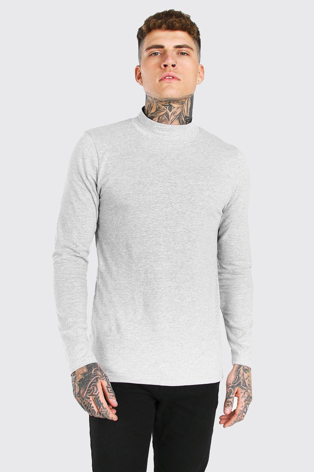 mens muscle fit extended neck long sleeve t-shirt - grey