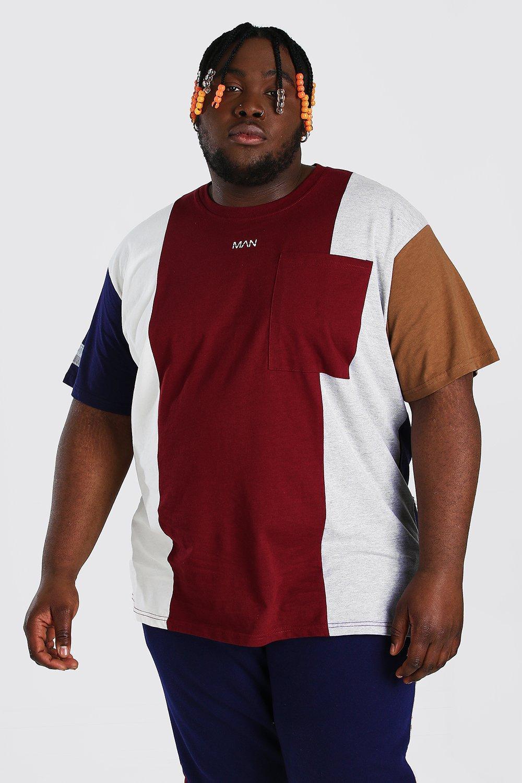 mens plus size loose fit colour block t-shirt - red
