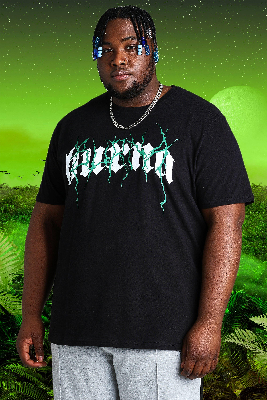 mens plus size burna boy tour print t-shirt - black