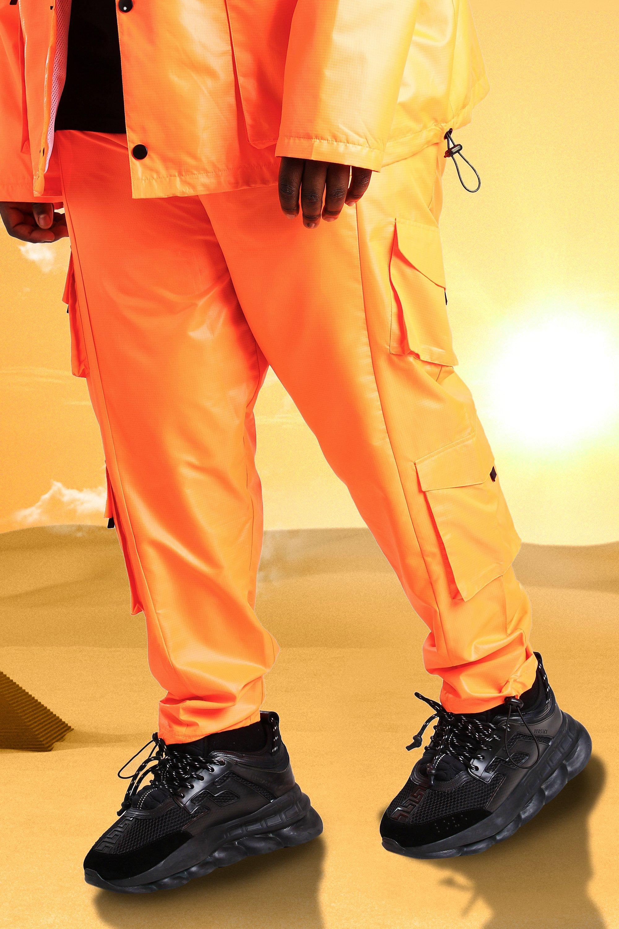 mens plus size burna boy cargo pants - orange