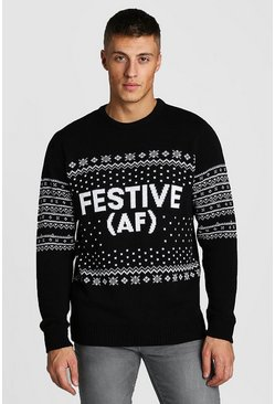 Mens Black Festive AF Slogan Christmas Jumper