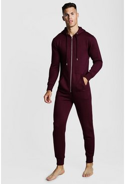 Mens Burgundy Basic Onesie