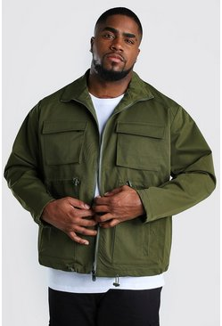 Khaki Big And Tall 4 Pocket Utility Jacket