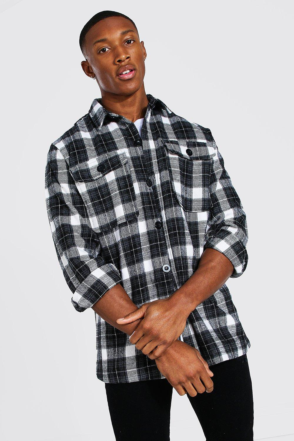 mens long sleeve heavy weight flannel overshirt - grey