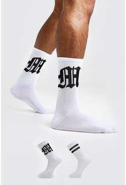 Mens White Gothic M Two Pack Socks