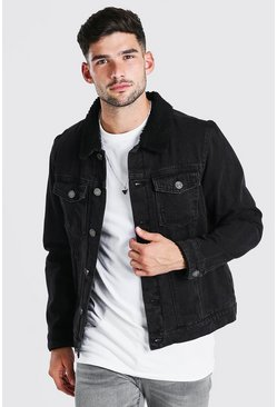 Mens Washed black Fully Borg Lined Denim Jacket