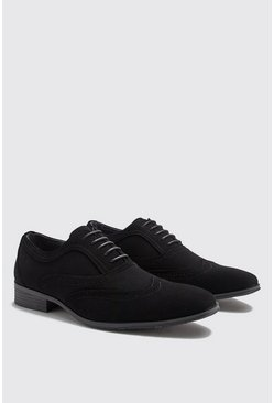 Herr Black Smart Faux Suede Brogue Shoes