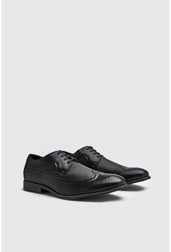 Leather Look Brogue Shoes, Black, HOMBRE