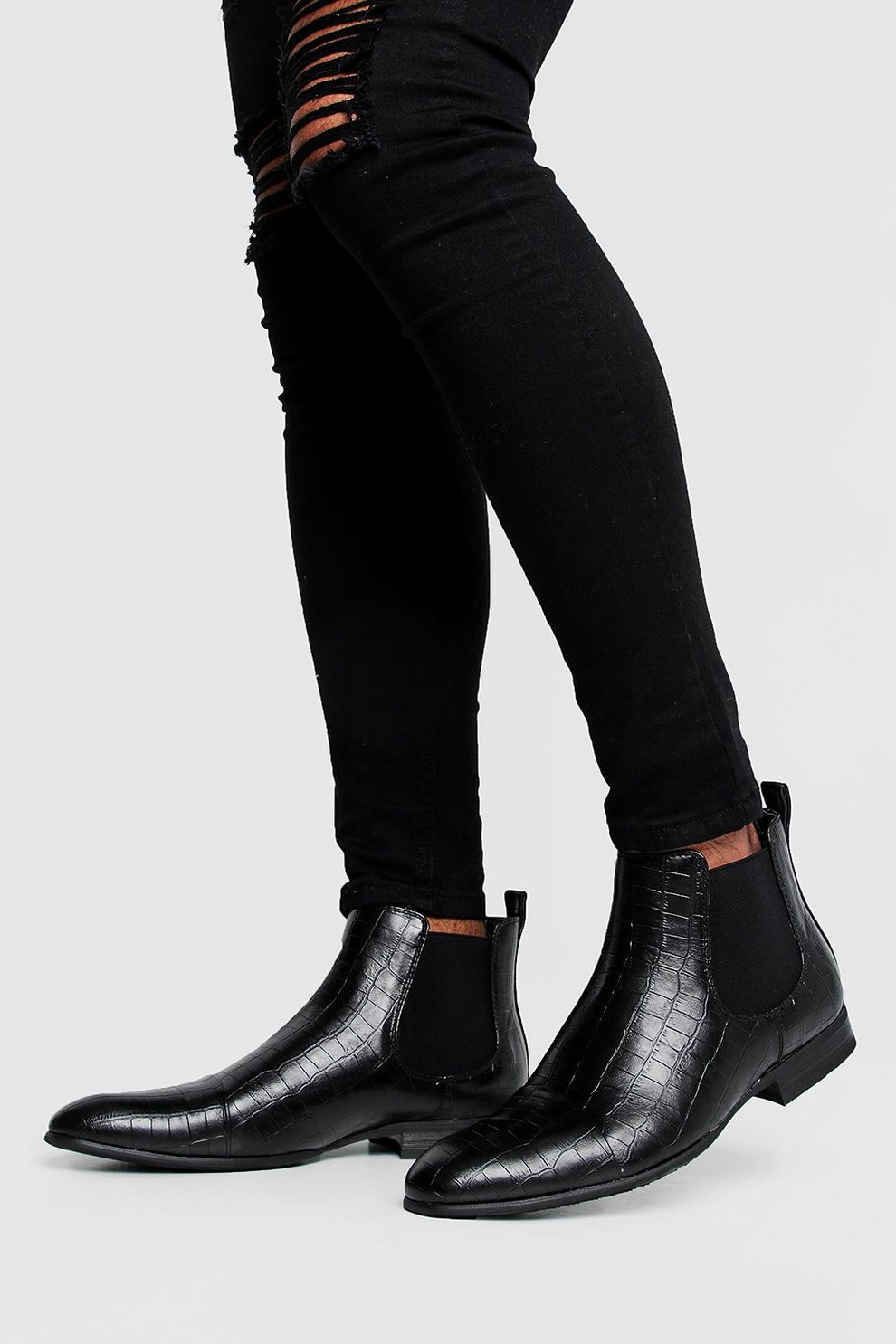 Croc Leather Look Chelsea Boots | Boohoo