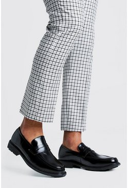 Herr Black Leather Look Loafers