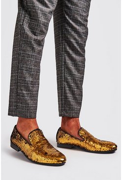 Mens Gold Party Sequin Loafers