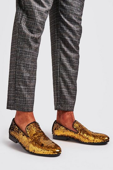 Gold Party Sequin Loafers