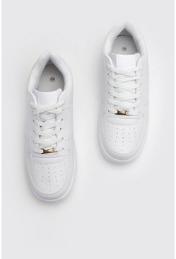 Mens White Lace Up Trainers