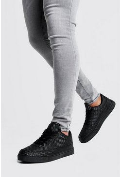 Herr Black Lace Up Texture Trainers