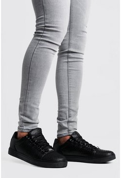 Herr Black Croc Lace Up Trainers