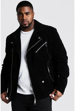 Mens Black Big & Tall Velour Biker Jacket