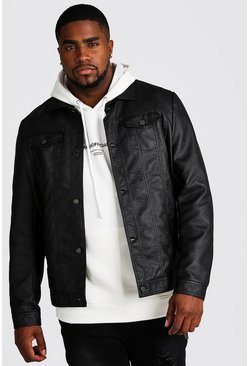 Big & Tall Faux Leather Trucker, Black, HOMBRE