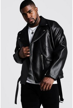 Black Big & Tall Faux Leather Biker With Belt