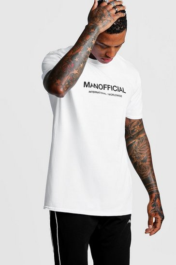 Mens White MAN Official Loose Fit T-Shirt