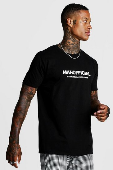 Mens Black MAN Official Loose Fit T-Shirt