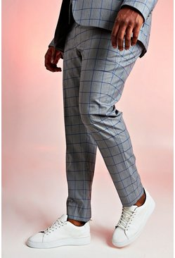 Mens Grey Big & Tall Skinny Fit Windowpane Suit Trouser
