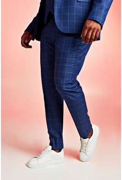 Navy Big & Tall Skinny Fit Windowpane Suit Trouser