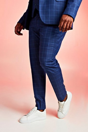 Mens Navy Big & Tall Skinny Fit Windowpane Suit Trouser