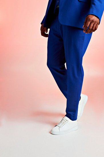 Mens Cobalt Big & Tall Skinny Fit Suit Trouser