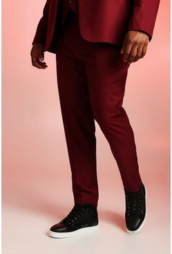 Mens Wine Big & Tall Skinny Fit Suit Trouser