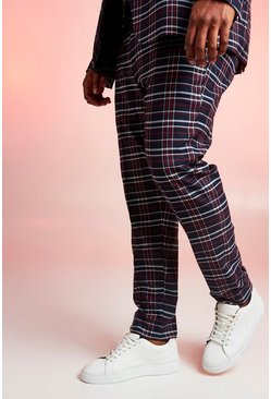 Navy Big & Tall Tartan Check Skinny Fit Trouser