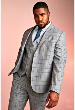Grey Big & Tall Skinny Fit Windowpane Blazer