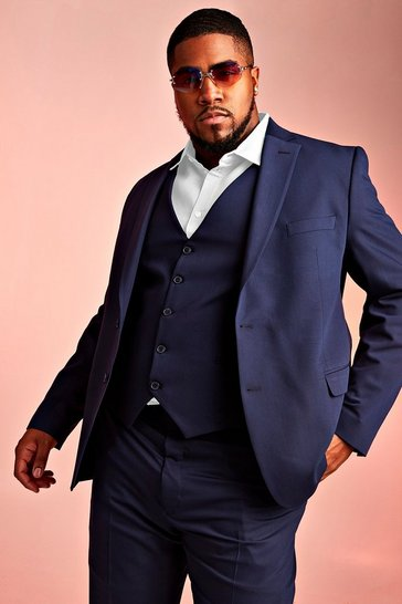 Mens Navy Big & Tall Skinny Fit Suit Blazer