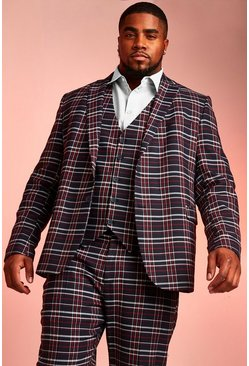 Herr Navy Big & Tall Skinny Fit Tartan Check Blazer