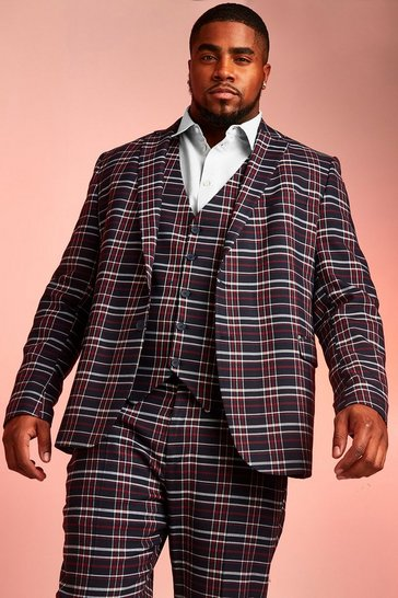 Navy Big & Tall Skinny Fit Tartan Check Blazer