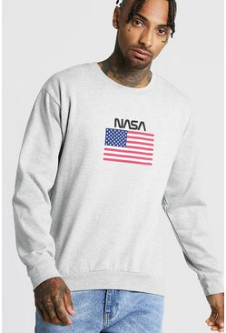 Mens Grey NASA Print Sweatshirt