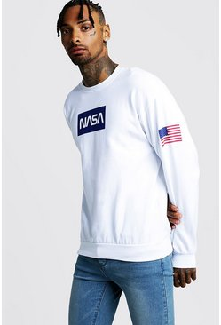 Mens White NASA Print Sweatshirt